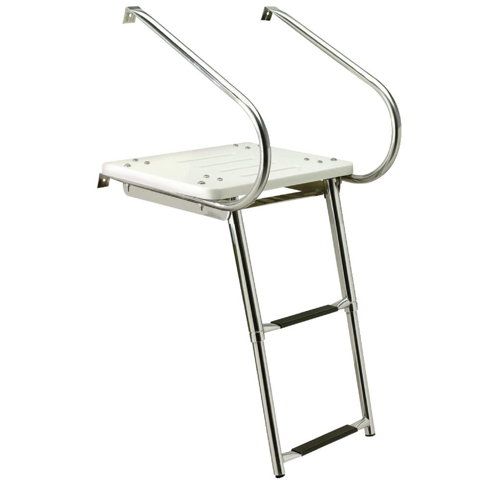 2-Step Deluxe Universal Swim Platform with Slide Mount Telescoping Ladder