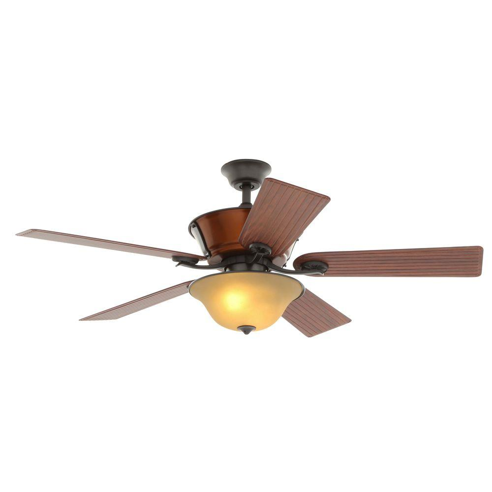 Hampton Bay Radcliffe 52 in. Indoor/Outdoor Natural Iron Ceiling Fan with Light Kit and Remote Control