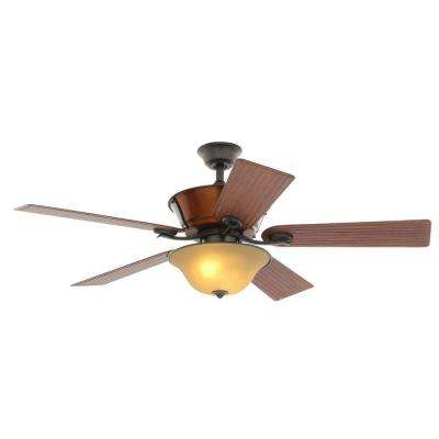Radcliffe 52 in. Indoor/Outdoor Natural Iron Ceiling Fan with Light Kit and Remote Control