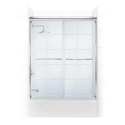Paragon 1/4 Series 54 in. x 58 in. Semi-Framed Sliding Tub Door with Radius Curved Towel Bar in Chrome and Clear Glass