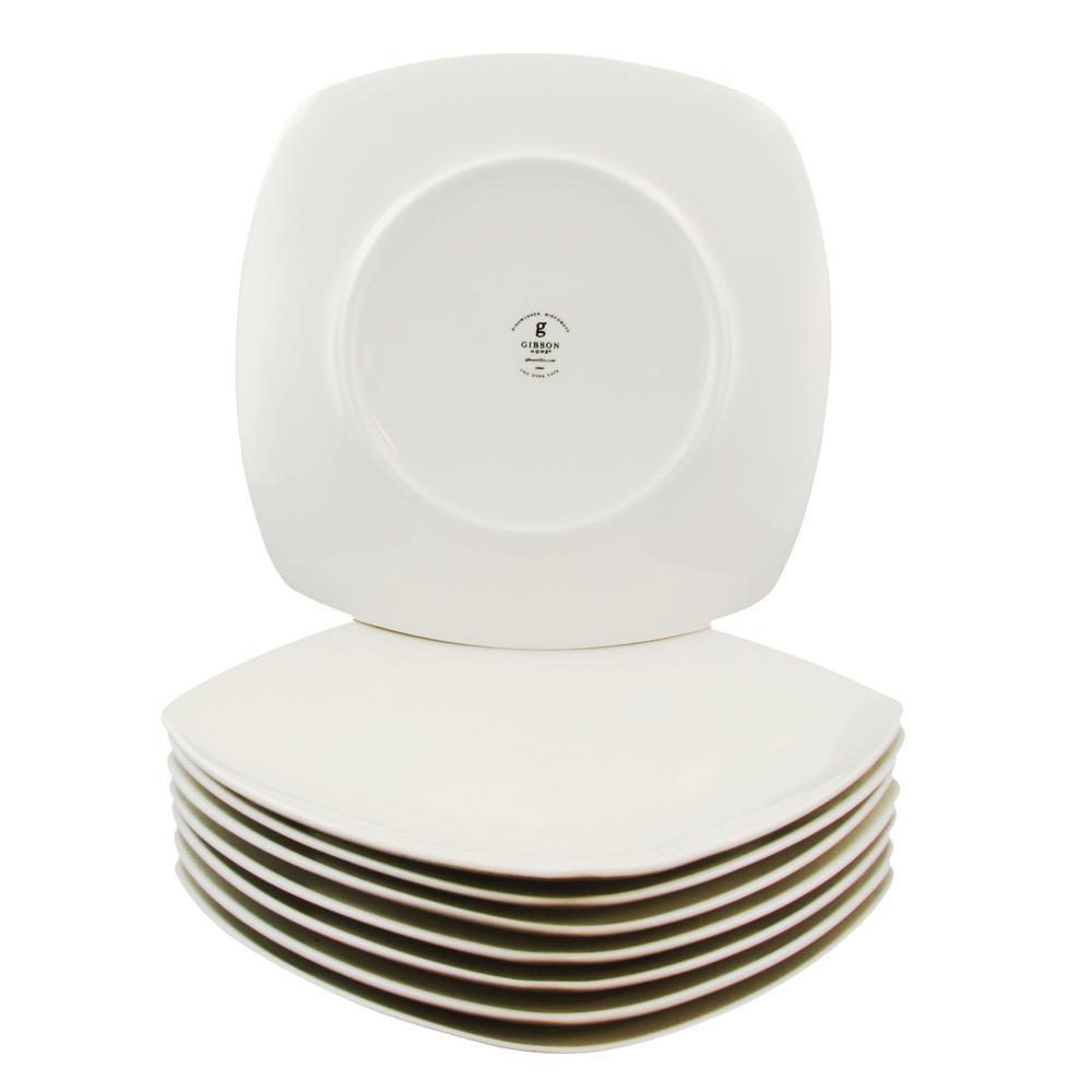 gibson zen buffetware white square dinner plates set of 8. Black Bedroom Furniture Sets. Home Design Ideas