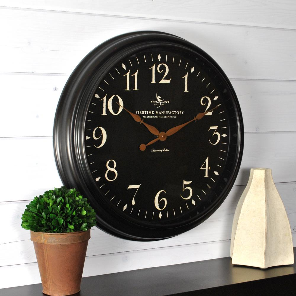Westclox digital black and gray wall clock 55006bk the home depot belmont black wall clock amipublicfo Choice Image