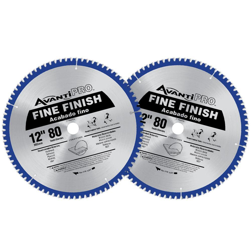 Avanti Pro 12 In X 80 Tooth Fine Finish Saw Blade 2 Pack