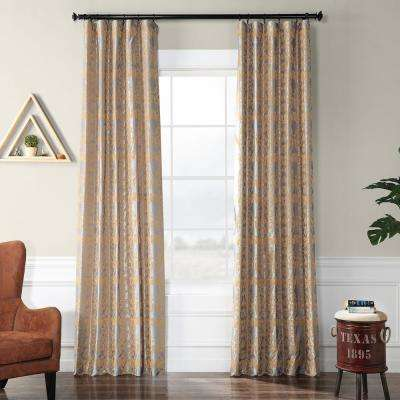 Firenze Silver and Gold Flocked Faux Silk Curtain - 50 in. W x 120 in. L
