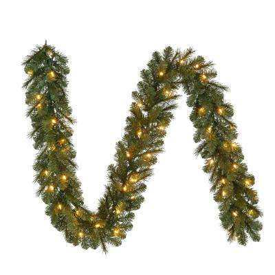 9 ft. Pre-Lit LED Artificial  Wesley Spruce Christmas Garland with 170 Tips and 60 Warm White Lights