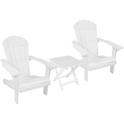 All-Weather White Plastic Patio Adirondack Chair with Side Table (Set of 2)