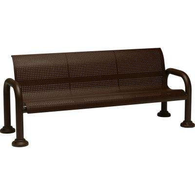 Harbor 6 ft. Contract Perforated Bench with Back in Hazel Nut