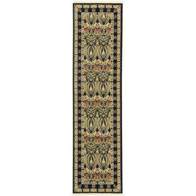 Edinburgh Carnation Black 2' 7 x 10' 0 Runner Rug