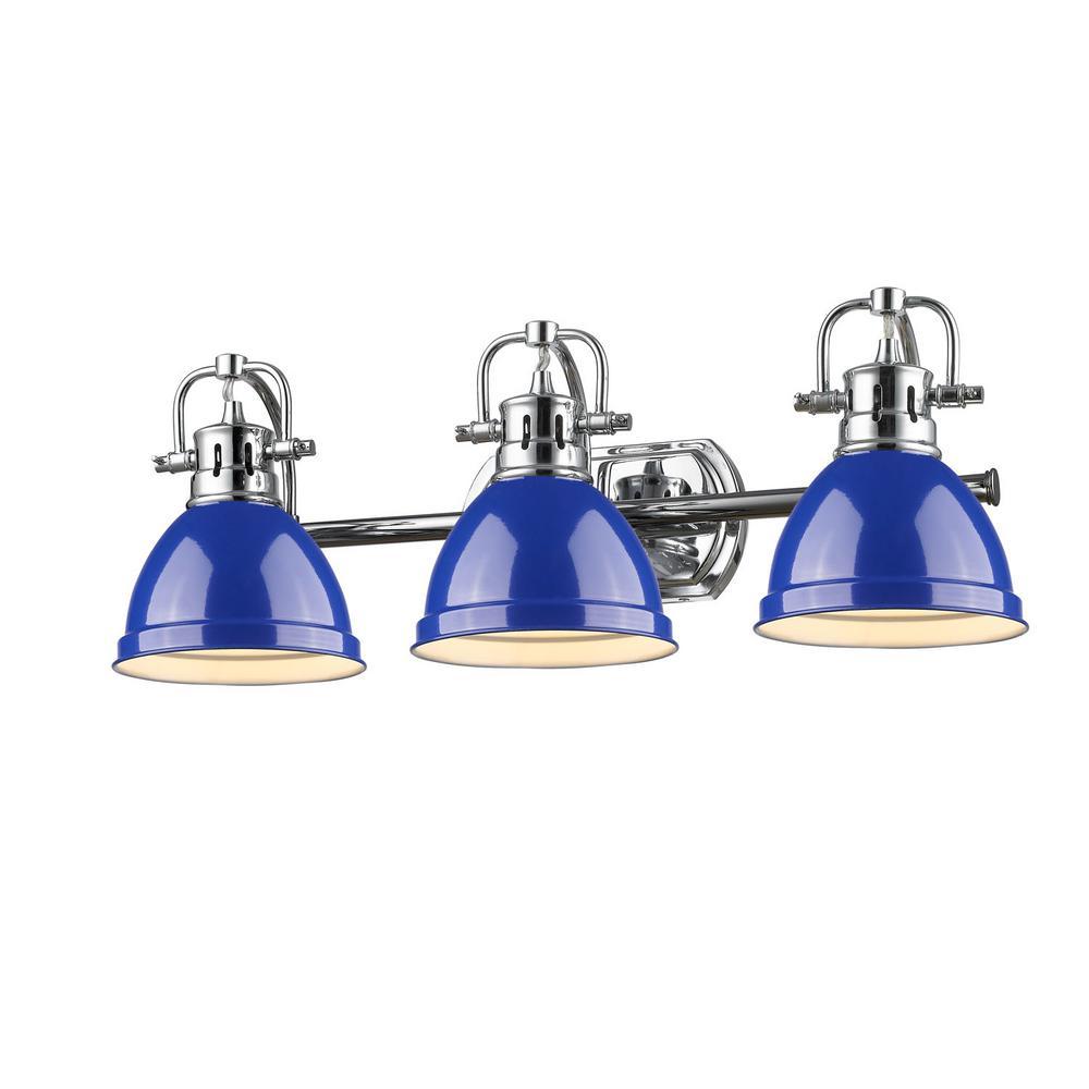 Duncan 3-Light Chrome Bath Light with Blue Shade
