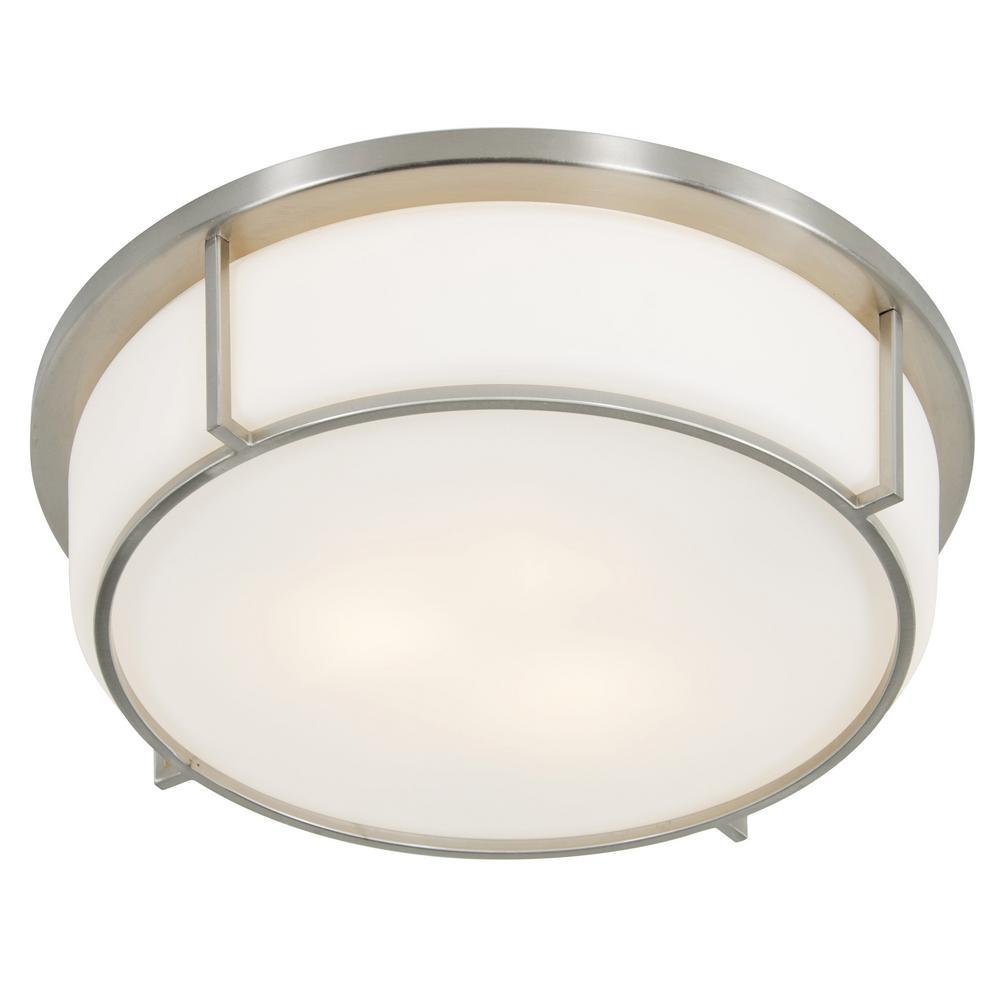 Rogue Decor Smart 3-Light Satin Nickel with Opal Glass Flushmount