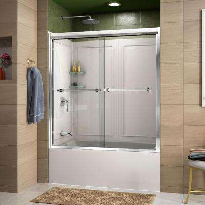 Duet 60 in. x 60 in. Sliding Tub/Shower Door in Chrome and Backwall with Glass Shelves