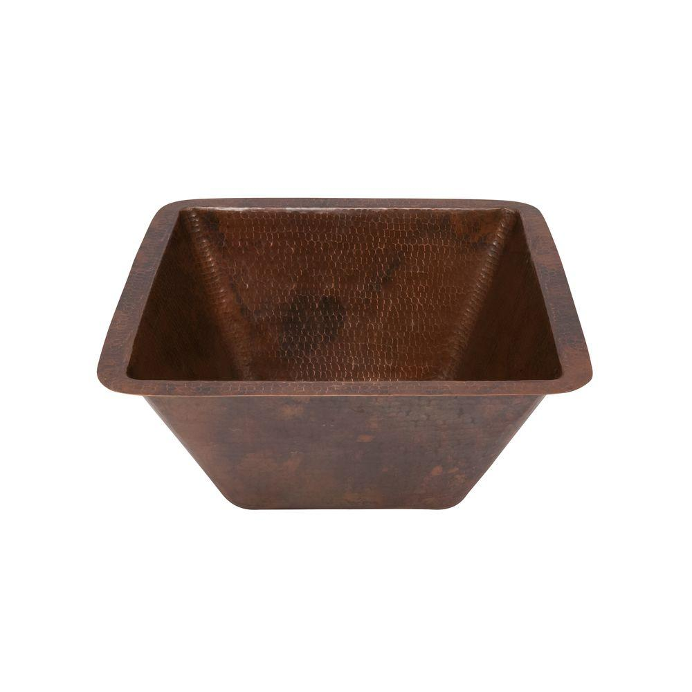 Premier Copper Products Under Counter Square Hammered Copper Bathroom Sink In Oil Rubbed Bronze