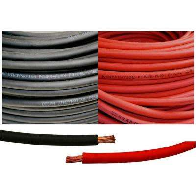 1/0-Gauge 25 Feet Black + 25 Feet Red (50 Feet Total) Welding Battery Pure Copper Flexible Cable Wire