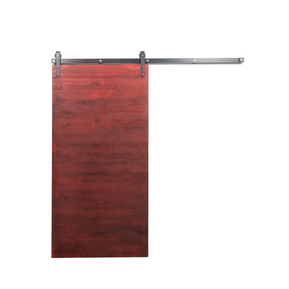 42 in. x 84 in. Reclaimed Barn Red Wood Barn Door with Arrow Sliding Door Hardware Kit