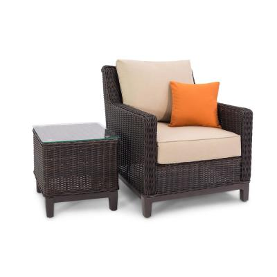 Alisa Brown Wicker Outdoor Lounge Chair with Beige Cushions and Side Table