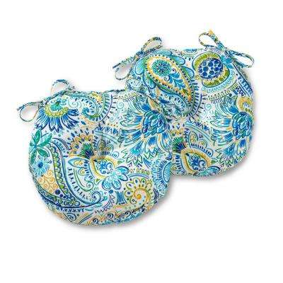 Baltic Paisley 15 in. Round Outdoor Seat Cushion (2-Pack)