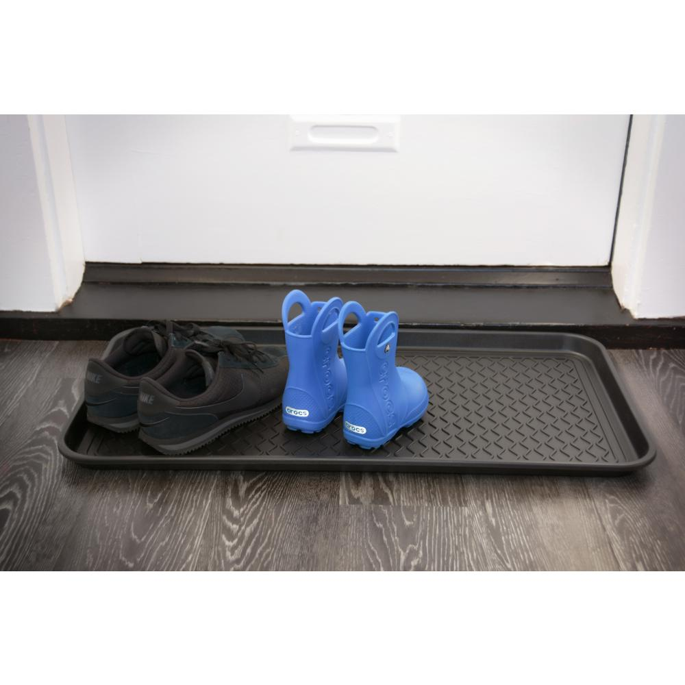Black 15 in. x 30 in. Polypropylene Utility Boot Tray, Bl...