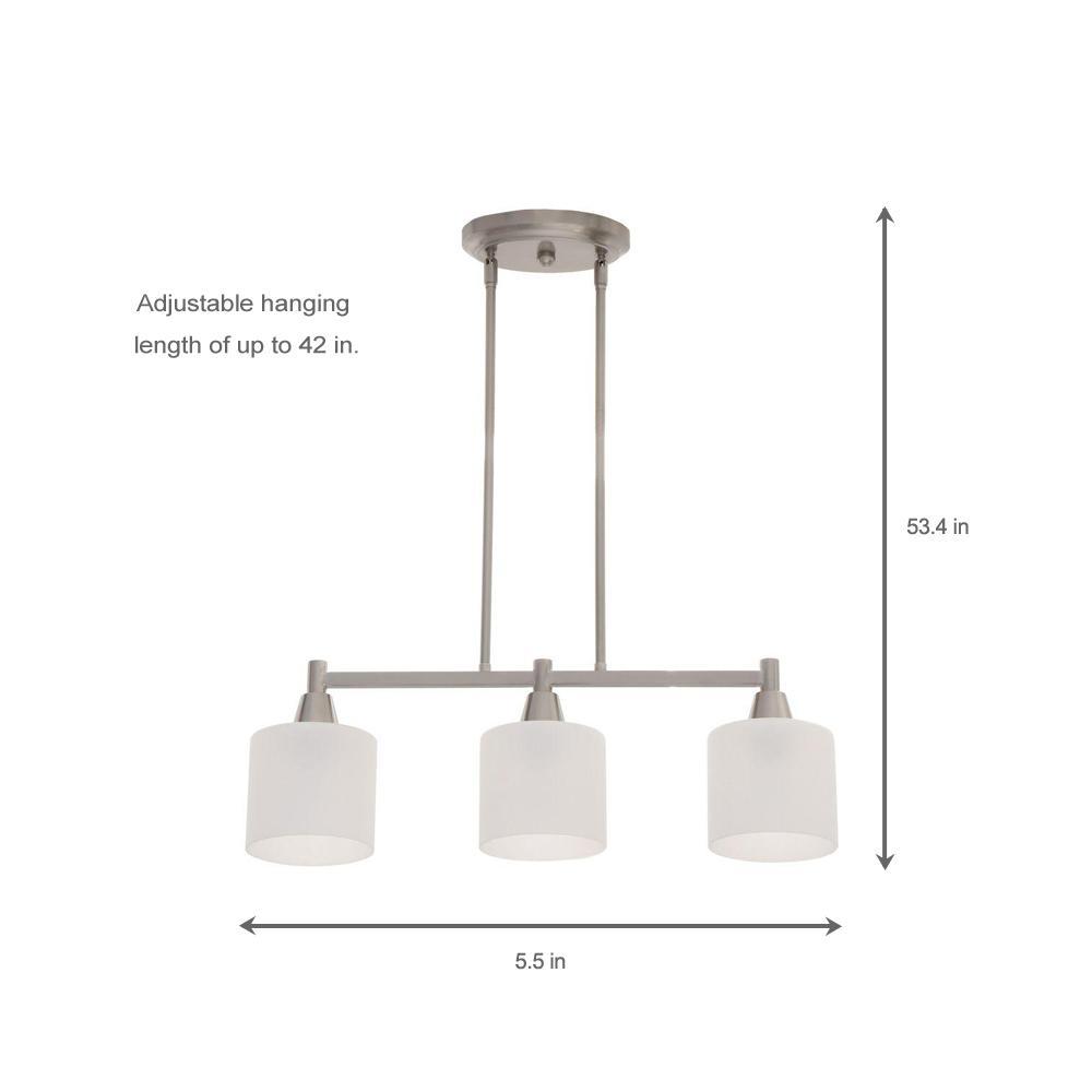 3-Light Kitchen Ceiling Pendant Modern Dinning Lighting Chrome 3 Glass Shades