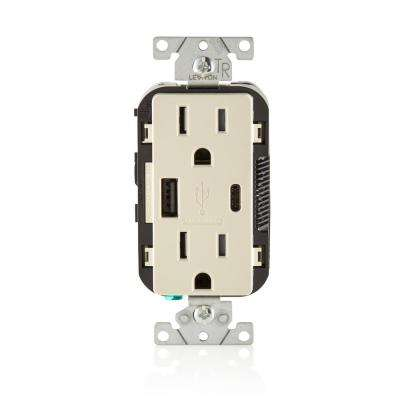 15 Amp Decora Type A and C USB Charger Tamper-Resistant Outlet, Light Almond