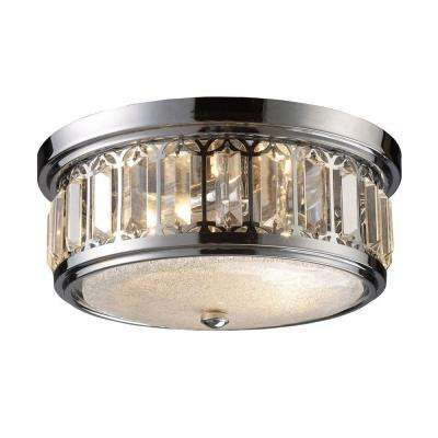 2-Light Polished Chrome Ceiling Flushmount