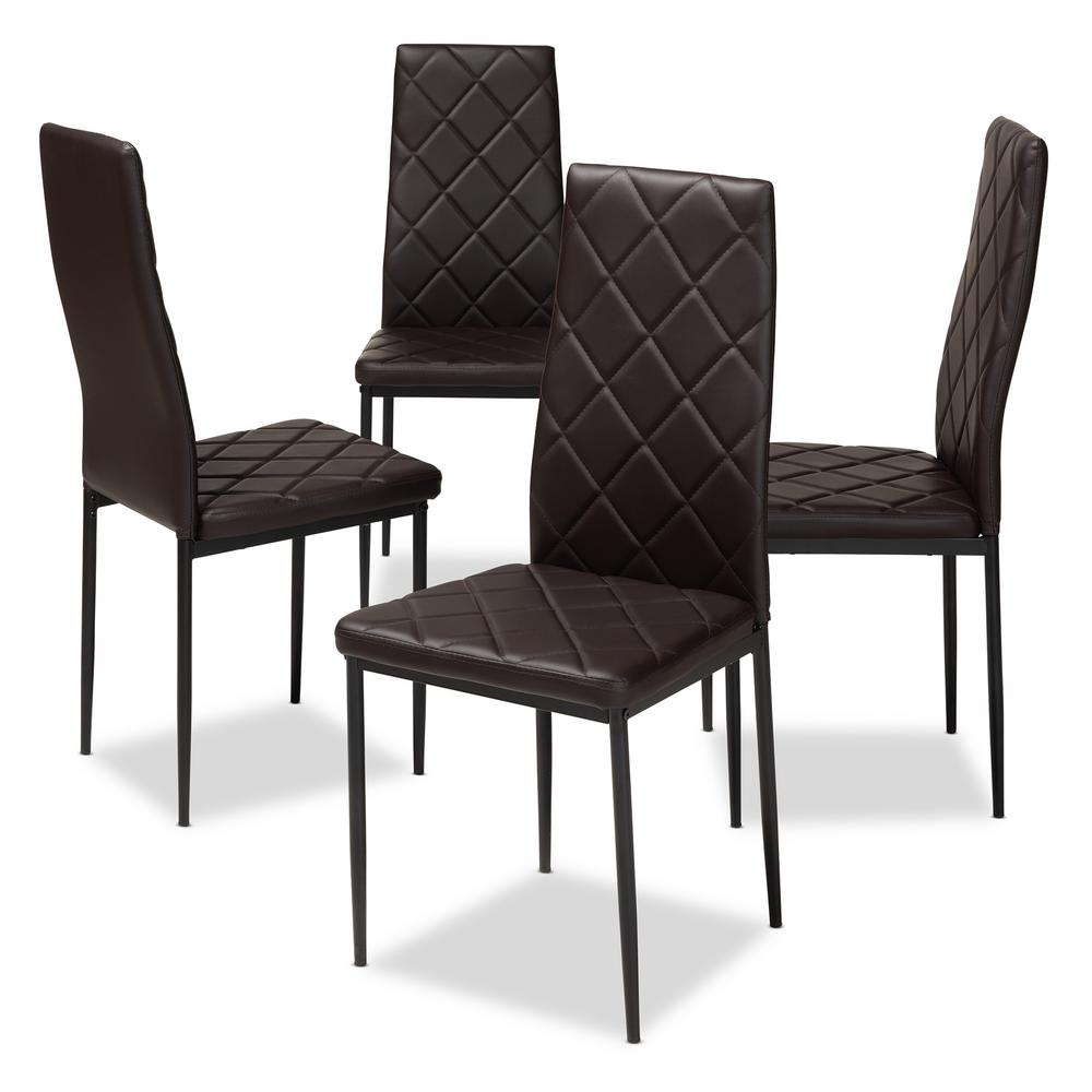 upholstered dining chairs set of 4 brisbane baxton studio blaise dark brown faux leather upholstered dining chair set of 4
