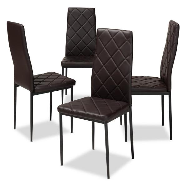 Baxton Studio Blaise Dark Brown Faux Leather Upholstered Dining Chair (Set