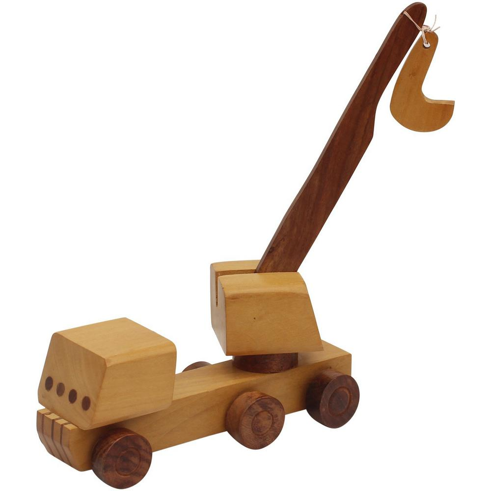 benzara handmade brown wooden kid's toy crane bm174941 - the