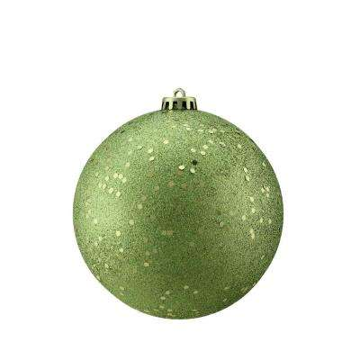 Green Kiwi Holographic Glitter Shatterproof Christmas Ball Ornament
