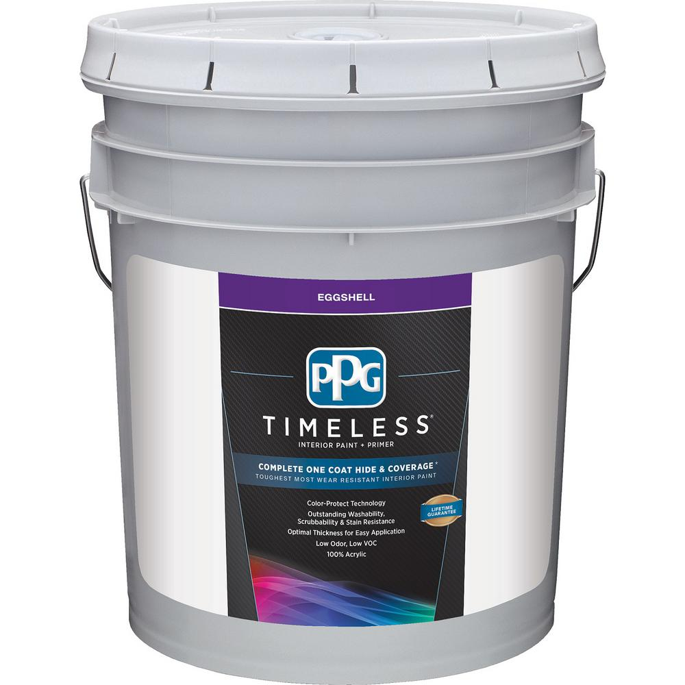 Ppg Timeless 5 Gal Pure White Base 1 Eggshell Interior Paint With Primer Ppg83 310 05 The
