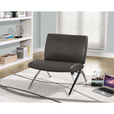 Monarch Specialties Leather-Look Accent Chair in Charcoal Grey with Chrome Base