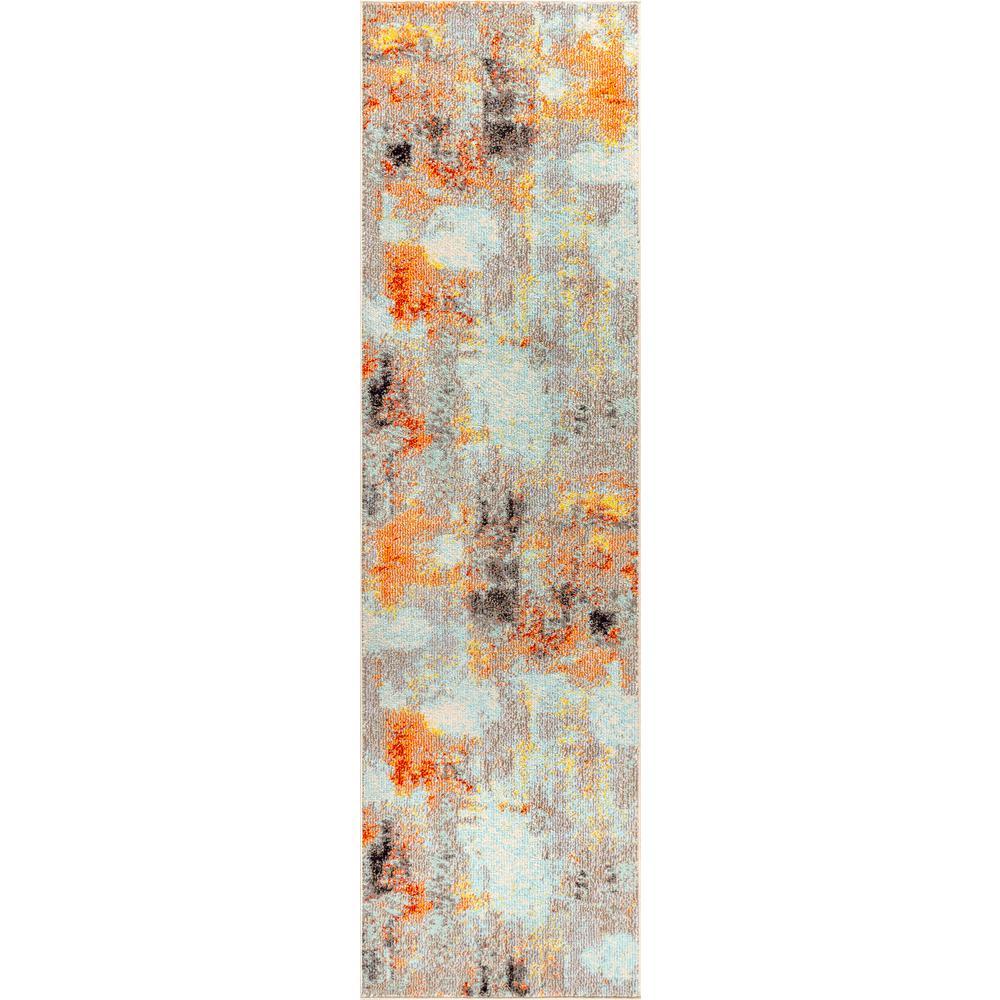Contemporary POP Modern Abstract Vintage Cream/Orange 2 ft. 3 in. x 8 ft. Runner Rug