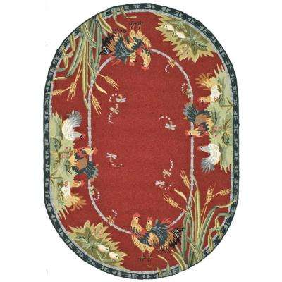 Chelsea Burgundy 7 ft. 6 in. x 9 ft. 6 in. Oval Area Rug