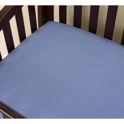 Sidekick Blue Check Cotton Fitted Baby Crib Sheet