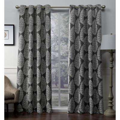 Queensland 52 in. W x 108 in. L Woven Blackout Grommet Top Curtain Panel in Black Pearl (2 Panels)