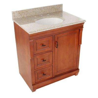 Naples 31 in. W x 22 in. D Bath Vanity with Left Drawers in Warm Cinnamon with Granite Vanity Top in Beige