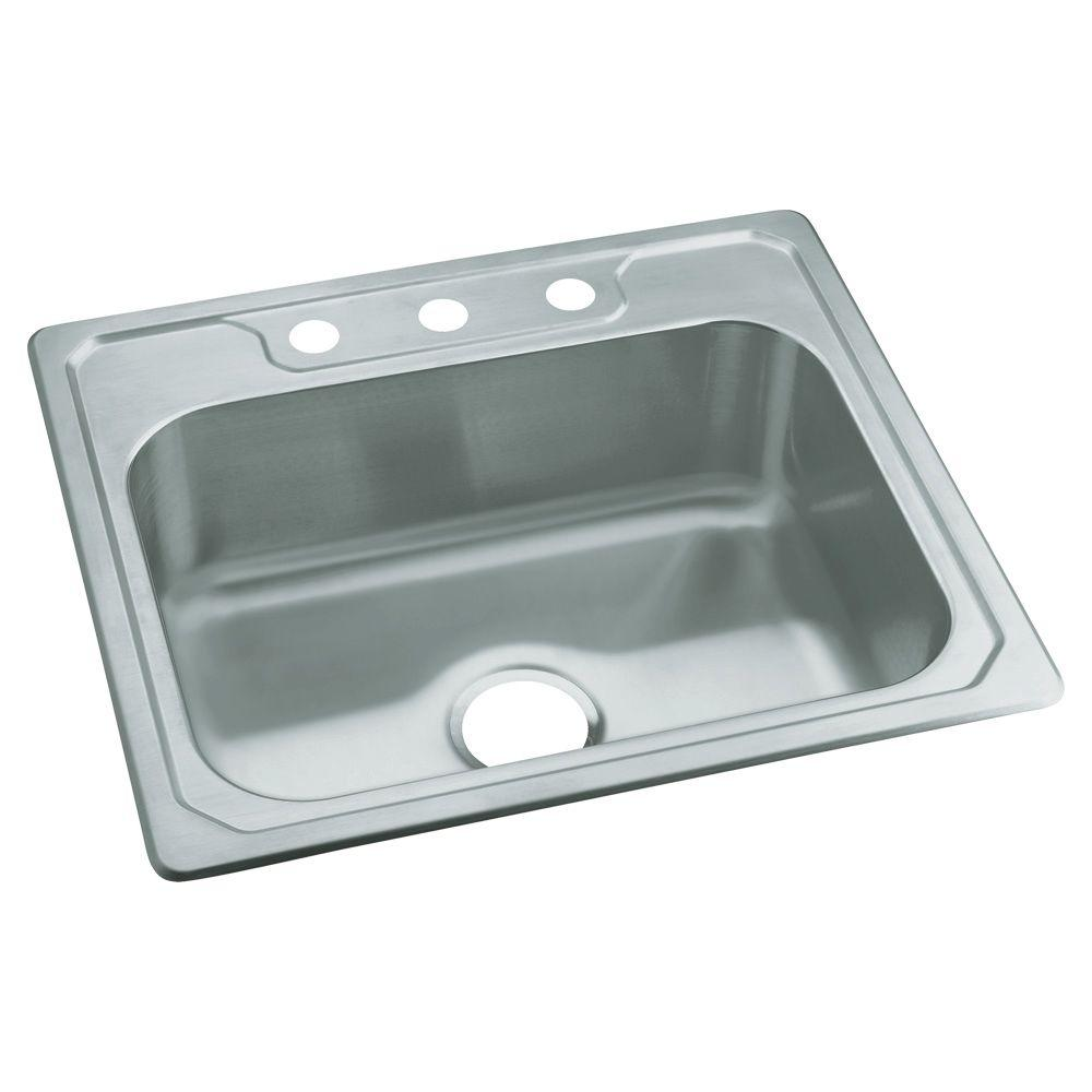 Sterling Middleton Drop In Stainless Steel  Hole Single Bowl Kitchen