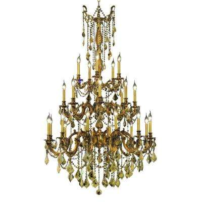 25-Light French Gold Chandelier with Golden Teak Smoky Crystal