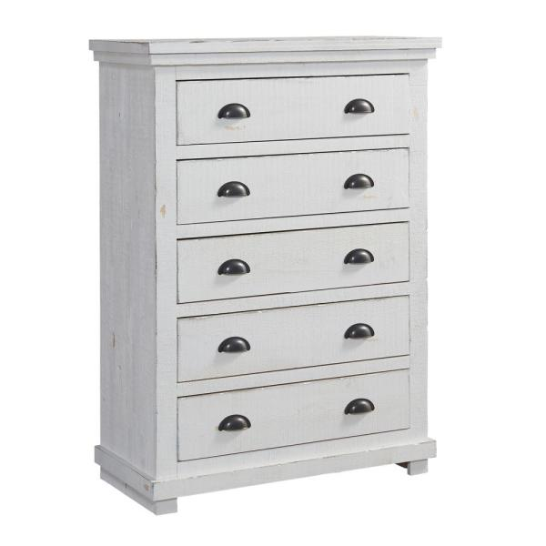 Progressive Furniture Willow 5 Drawer Distressed White Chest