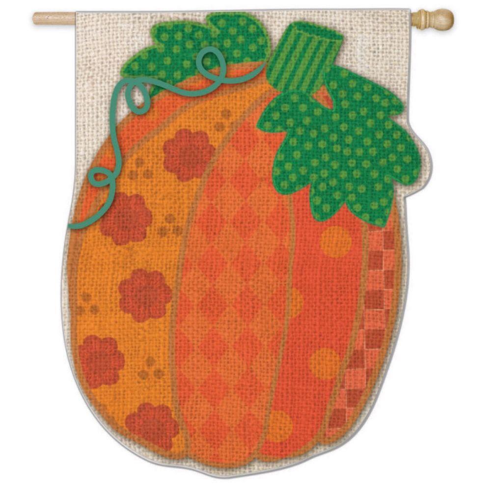 Burlap Patchwork Pumpkin Flag