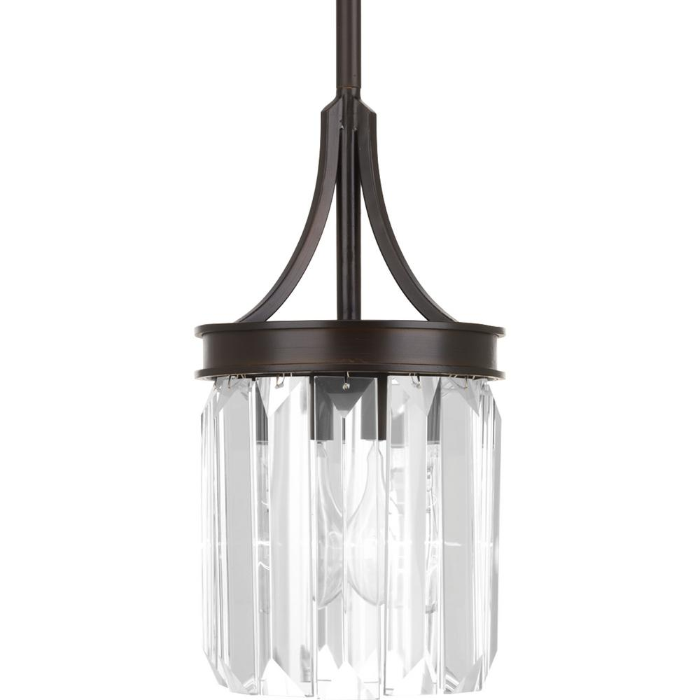 Progress Lighting Glimmer Collection 1 Light Antique Bronze Mini Pendant With Clear Glass P5320