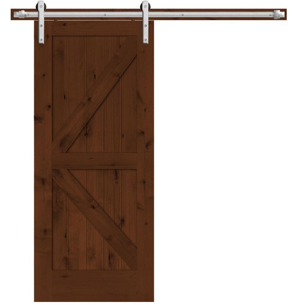 rustic 2panel stained knotty alder interior barn door slab with sliding door hardware