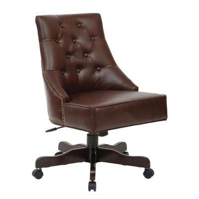 Rebecca Cocoa Bonded Leather Tufted Office Chair with Nail-Heads with Espresso Base