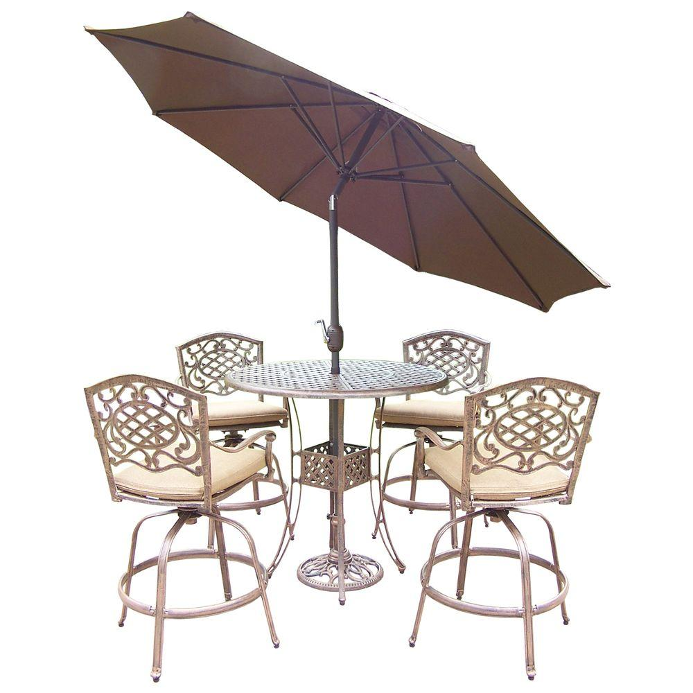 Round Bar Dining Set Oatmeal Cushions Umbrella
