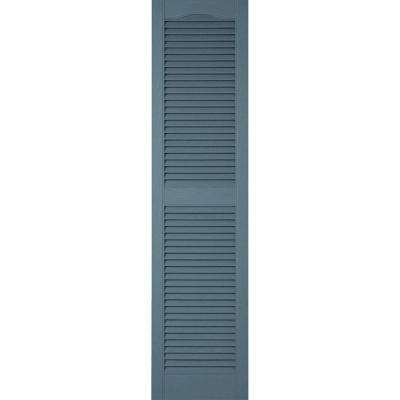 18 in. x 55 in. Lifetime Vinyl Custom Cathedral Top Center Mullion Open Louvered Shutters Pair Wedgewood Blue
