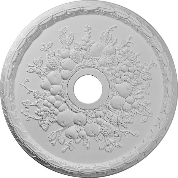 22-5/8'' x 3-5/8'' ID x 5/8'' Grape Urethane Ceiling Medallion (Fits Canopies upto 3-5/8''), Primed White