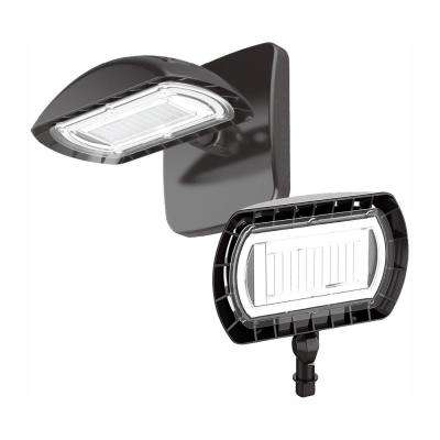 Dark Bronze Outdoor Integrated LED Large Flood Light with Wall Pack Mount Kit