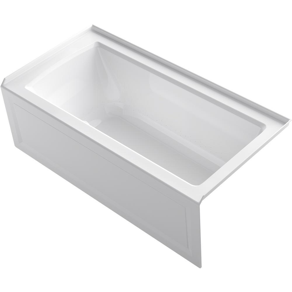 KOHLER Archer 60 in. Right-Hand Drain Rectangular Apron Front Air Bath Bathtub in White