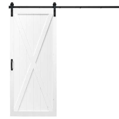 36 in. x 84 in. Classic X White Alder Wood Interior Barn Door Slab with Sliding Door Hardware Kit