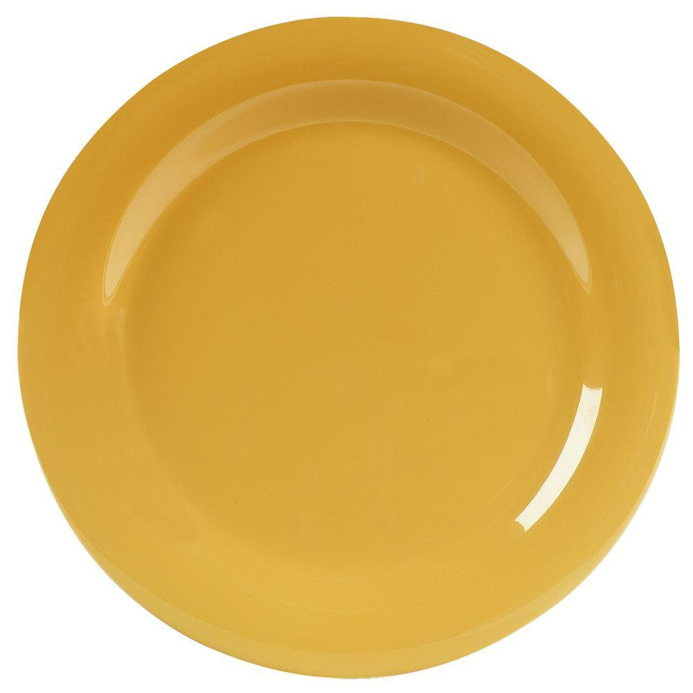 10.5 in. Diameter Melamine Narrow Rim Dinner Plate in Honey Yellow