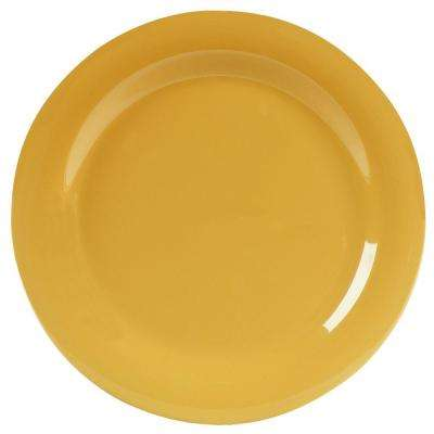10.5 in. Diameter Melamine Narrow Rim Dinner Plate in Honey Yellow (Case of 12)